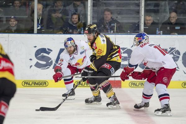 Wiens Andreas Nödl setzt sich gegen die beiden Salzburger Brett Sterling und Ryan Duncan. (Foto: Markus Knoblechner)
