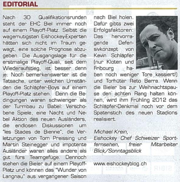 Editorial im Matchflyer vom 10.12.2011 Biel-Bern